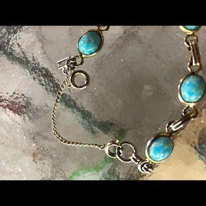 "Longcraft Jewelry - Vintage Longcraft Turquoise Art Glass Bracelet 7"""